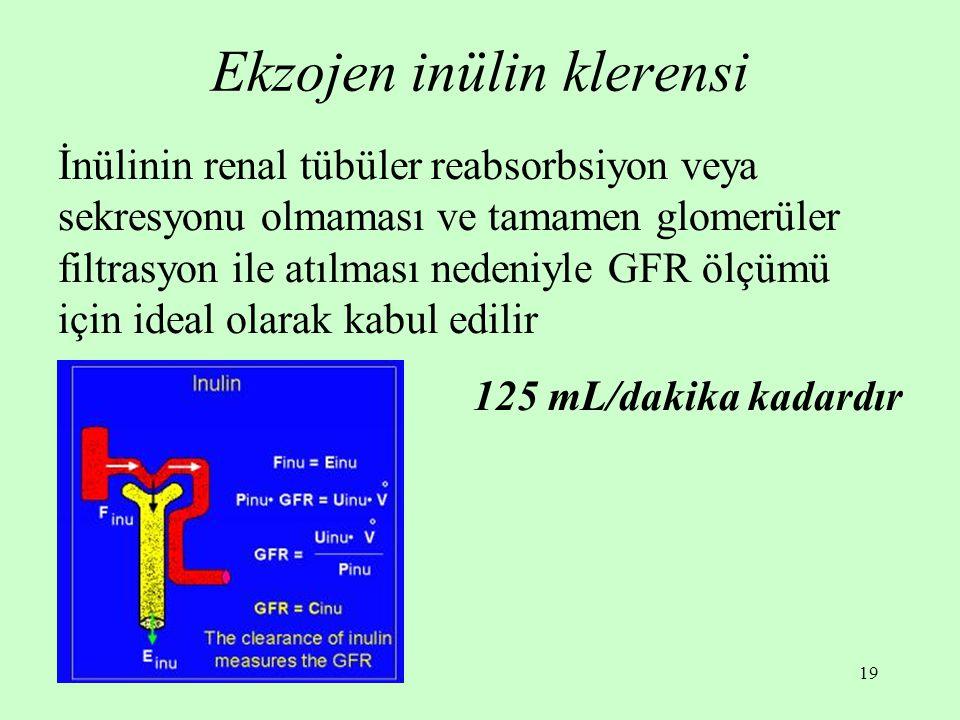 19 Ekzojen inülin klerensi İnülinin renal tübüler reabsorbsiyon veya sekresyonu olmaması ve tamamen glomerüler filtrasyon ile atılması nedeniyle GFR ö
