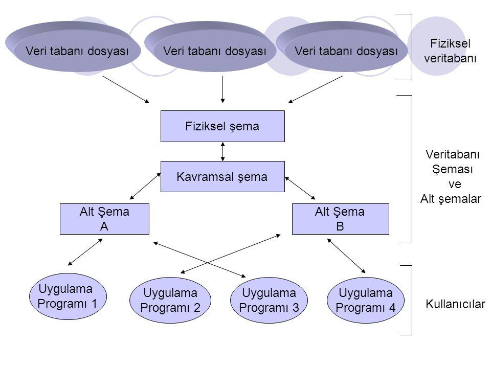 Veri tabanı dosyası Fiziksel şema Kavramsal şema Alt Şema A Alt Şema B Uygulama Programı 1 Uygulama Programı 2 Uygulama Programı 3 Uygulama Programı 4
