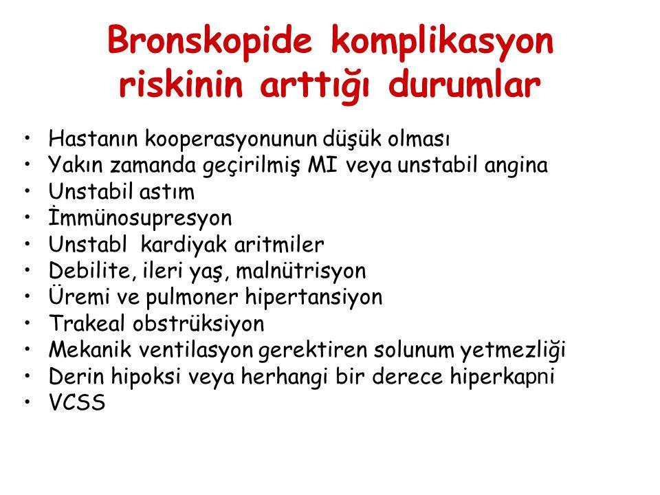 Bronskopide komplikasyon riskinin arttığı durumlar Hastanın kooperasyonunun düşük olması Yakın zamanda geçirilmiş MI veya unstabil angina Unstabil ast