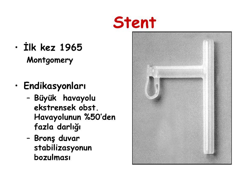 Stent İlk kez 1965 Montgomery Endikasyonları –Büyük havayolu ekstrensek obst. Havayolunun %50'den fazla darlığı –Bronş duvar stabilizasyonun bozulması