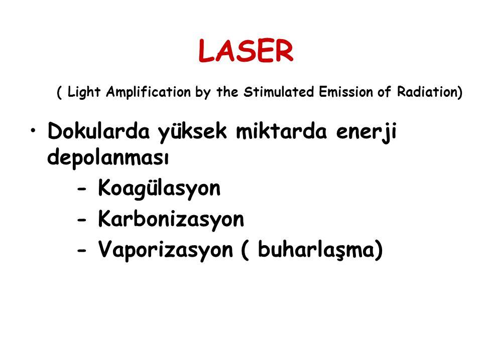 LASER ( Light Amplification by the Stimulated Emission of Radiation) Dokularda yüksek miktarda enerji depolanması - Koagülasyon - Karbonizasyon - Vapo