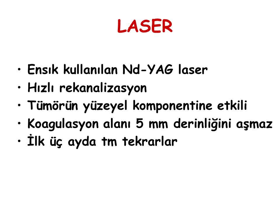 LASER Ensık kullanılan Nd-YAG laser Hızlı rekanalizasyon Tümörün yüzeyel komponentine etkili Koagulasyon alanı 5 mm derinliğini aşmaz İlk üç ayda tm t