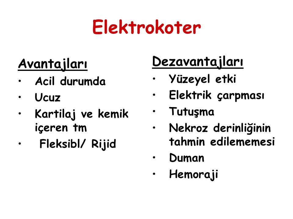 Elektrokoter Avantajları Acil durumda Ucuz Kartilaj ve kemik içeren tm Fleksibl/ Rijid Dezavantajları Yüzeyel etki Elektrik çarpması Tutuşma Nekroz de