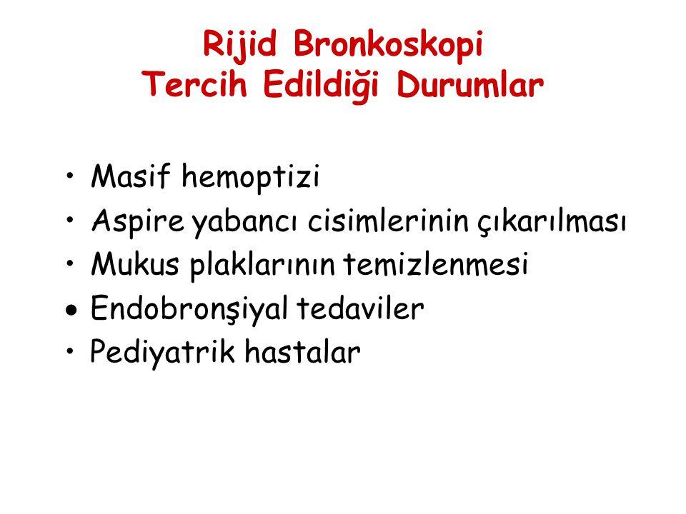 Rijid Bronkoskopi Tercih Edildiği Durumlar Masif hemoptizi Aspire yabancı cisimlerinin çıkarılması Mukus plaklarının temizlenmesi  Endobronşiyal teda