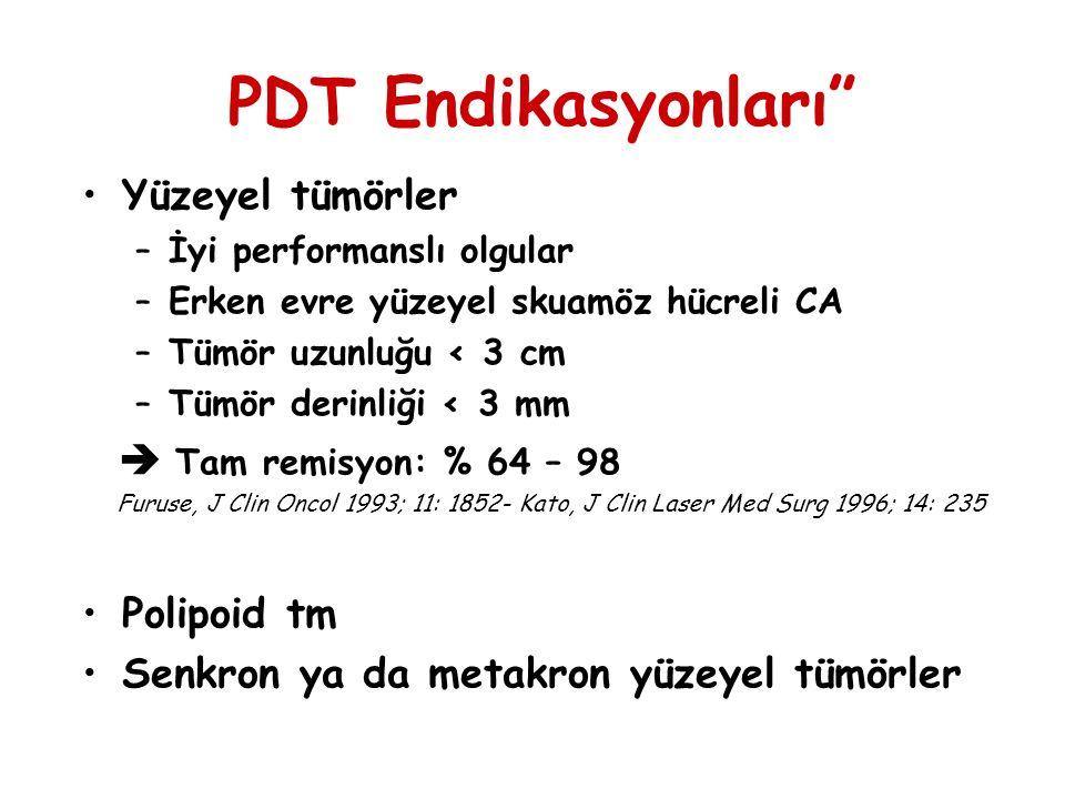 """PDT Endikasyonları"""" Yüzeyel tümörler –İyi performanslı olgular –Erken evre yüzeyel skuamöz hücreli CA –Tümör uzunluğu < 3 cm –Tümör derinliği < 3 mm """