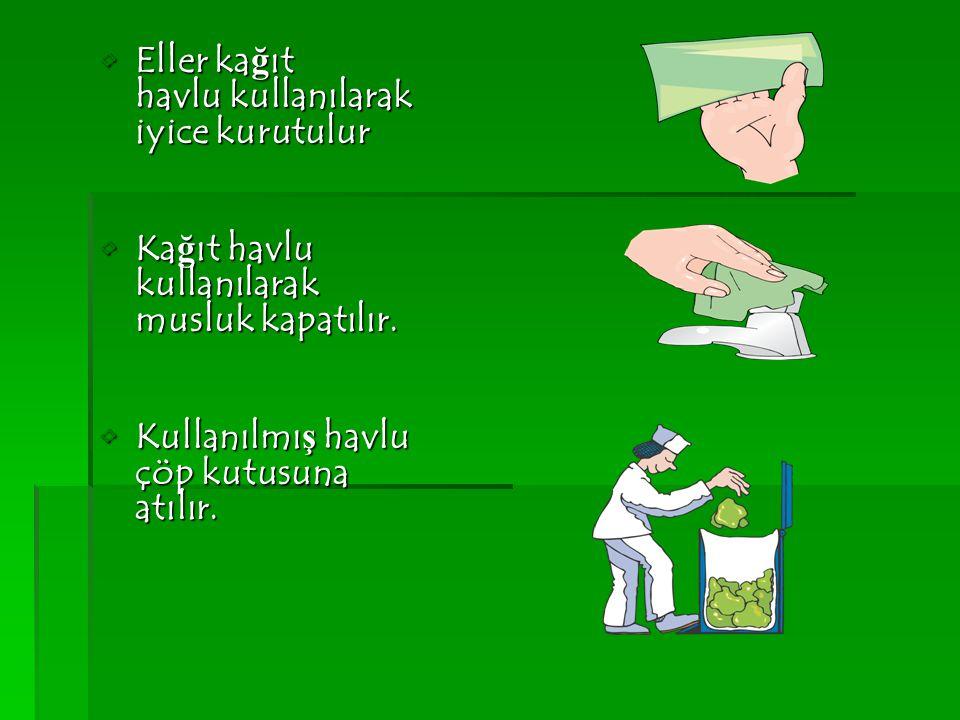 Eller ka ğ ıt havlu kullanılarak iyice kurutulurEller ka ğ ıt havlu kullanılarak iyice kurutulur Ka ğ ıt havlu kullanılarak musluk kapatılır.Ka ğ ıt h