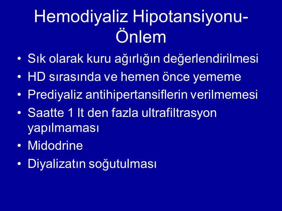 Hemodiyaliz Hipotansiyonu- Önlem Sık olarak kuru ağırlığın değerlendirilmesi HD sırasında ve hemen önce yememe Prediyaliz antihipertansiflerin verilme