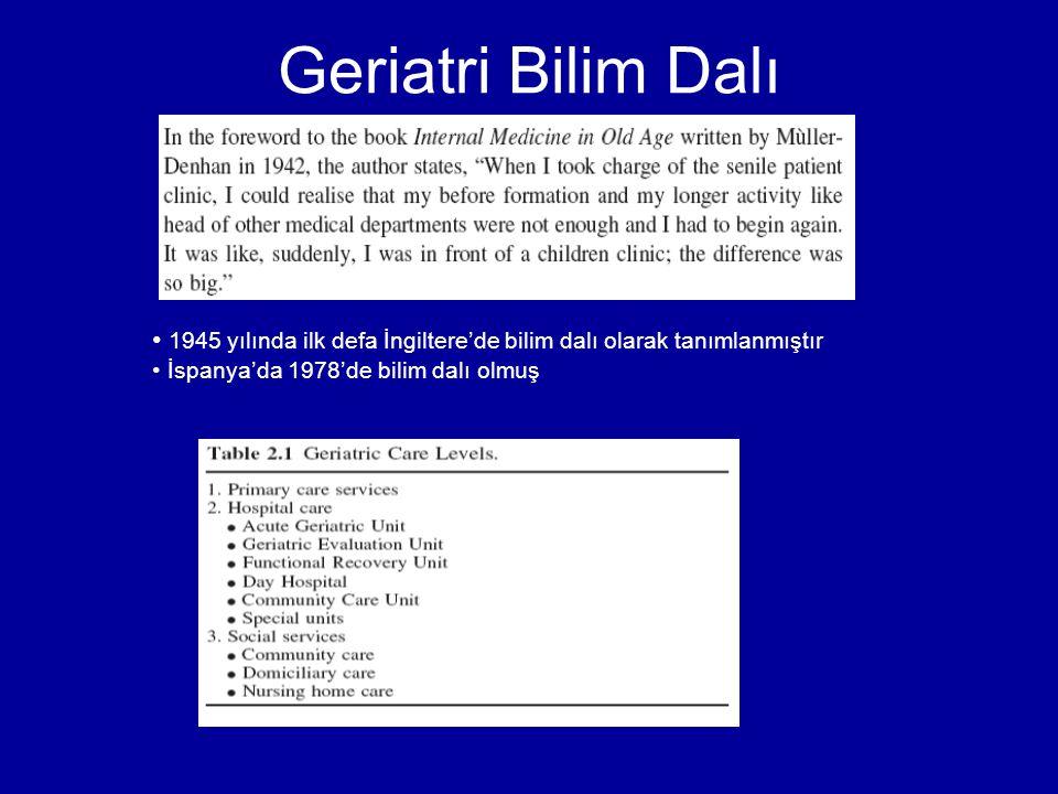 Geriatri Bilim Dalı 1945 yılında ilk defa İngiltere'de bilim dalı olarak tanımlanmıştır İspanya'da 1978'de bilim dalı olmuş