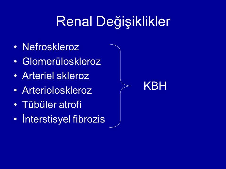 Renal Değişiklikler Nefroskleroz Glomerüloskleroz Arteriel skleroz Arterioloskleroz Tübüler atrofi İnterstisyel fibrozis KBH