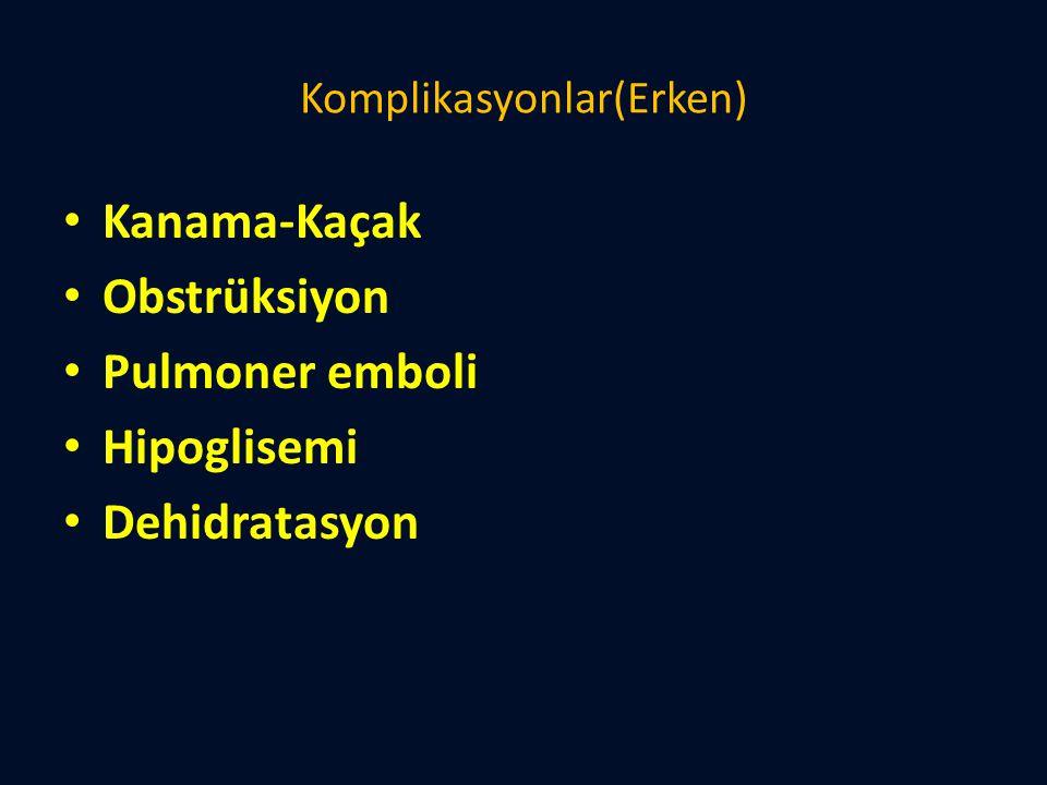 Komplikasyonlar(Erken) Kanama-Kaçak Obstrüksiyon Pulmoner emboli Hipoglisemi Dehidratasyon