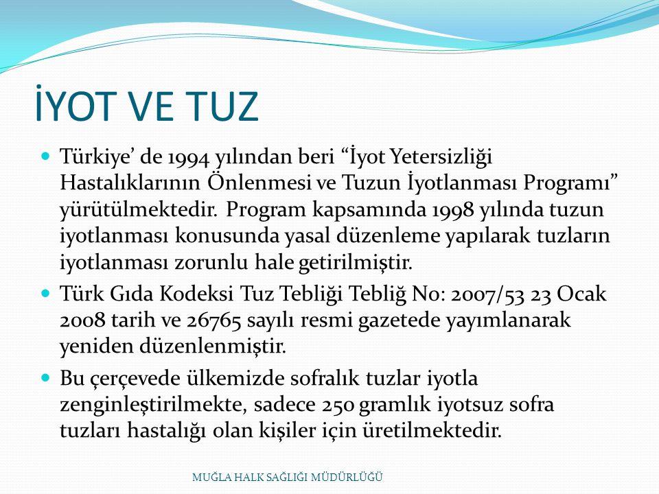 İYOT VE TUZ Türkiye' de 1994 yılından beri İyot Yetersizliği Hastalıklarının Önlenmesi ve Tuzun İyotlanması Programı yürütülmektedir.