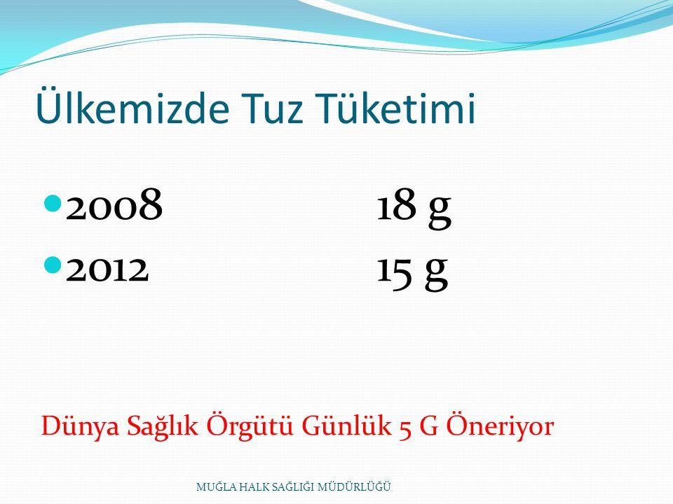 Ülkemizde Tuz Tüketimi 200818 g 201215 g Dünya Sağlık Örgütü Günlük 5 G Öneriyor MUĞLA HALK SAĞLIĞI MÜDÜRLÜĞÜ