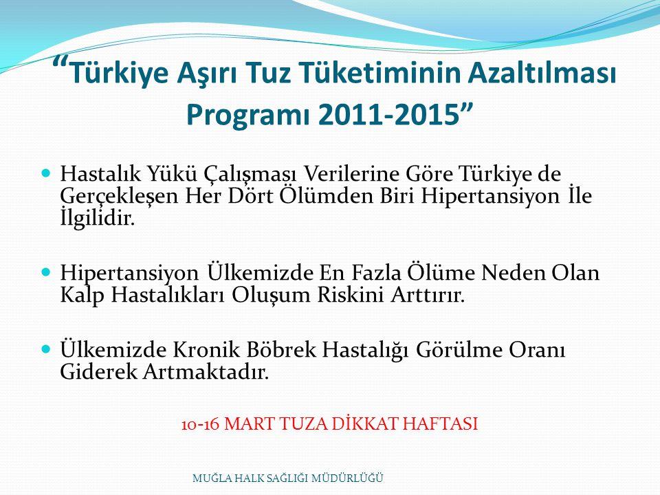 Türkiye Aşırı Tuz Tüketiminin Azaltılması Programı 2011-2015 Hastalık Yükü Çalışması Verilerine Göre Türkiye de Gerçekleşen Her Dört Ölümden Biri Hipertansiyon İle İlgilidir.