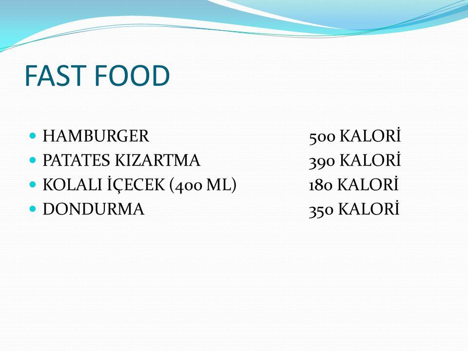 FAST FOOD HAMBURGER500 KALORİ PATATES KIZARTMA390 KALORİ KOLALI İÇECEK(400 ML)180 KALORİ DONDURMA350 KALORİ