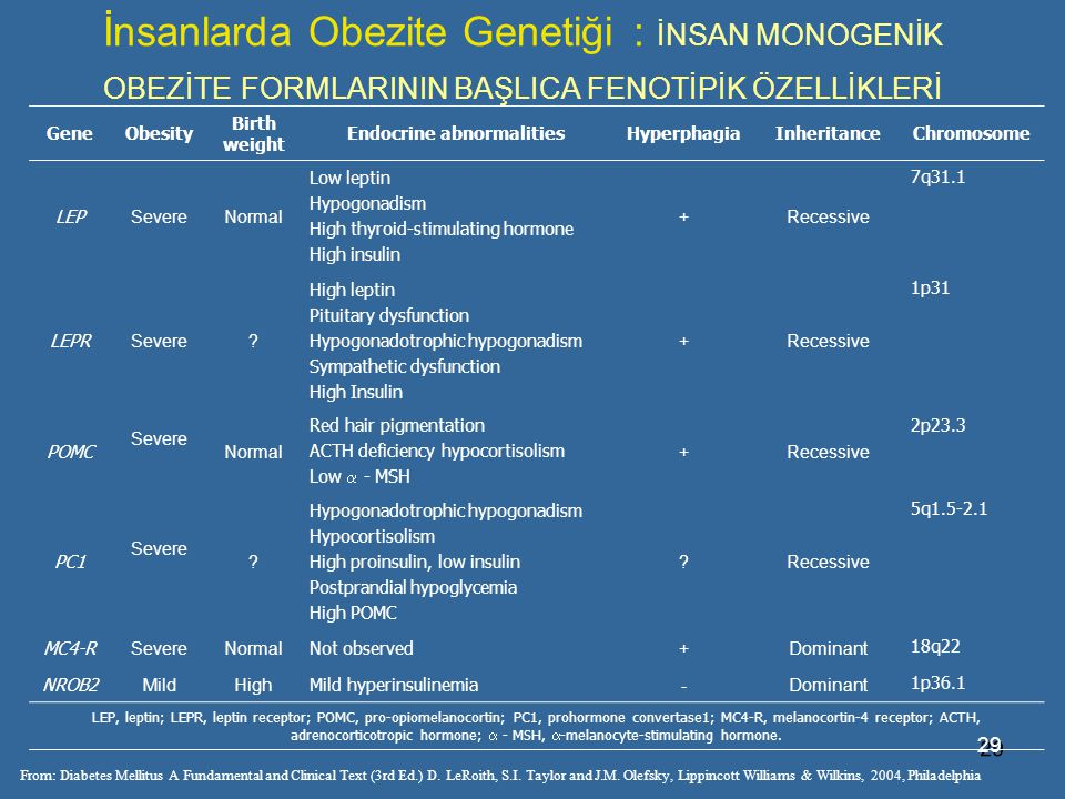 29 İnsanlarda Obezite Genetiği : İNSAN MONOGENİK OBEZİTE FORMLARININ BAŞLICA FENOTİPİK ÖZELLİKLERİ From: Diabetes Mellitus A Fundamental and Clinical Text (3rd Ed.) D.