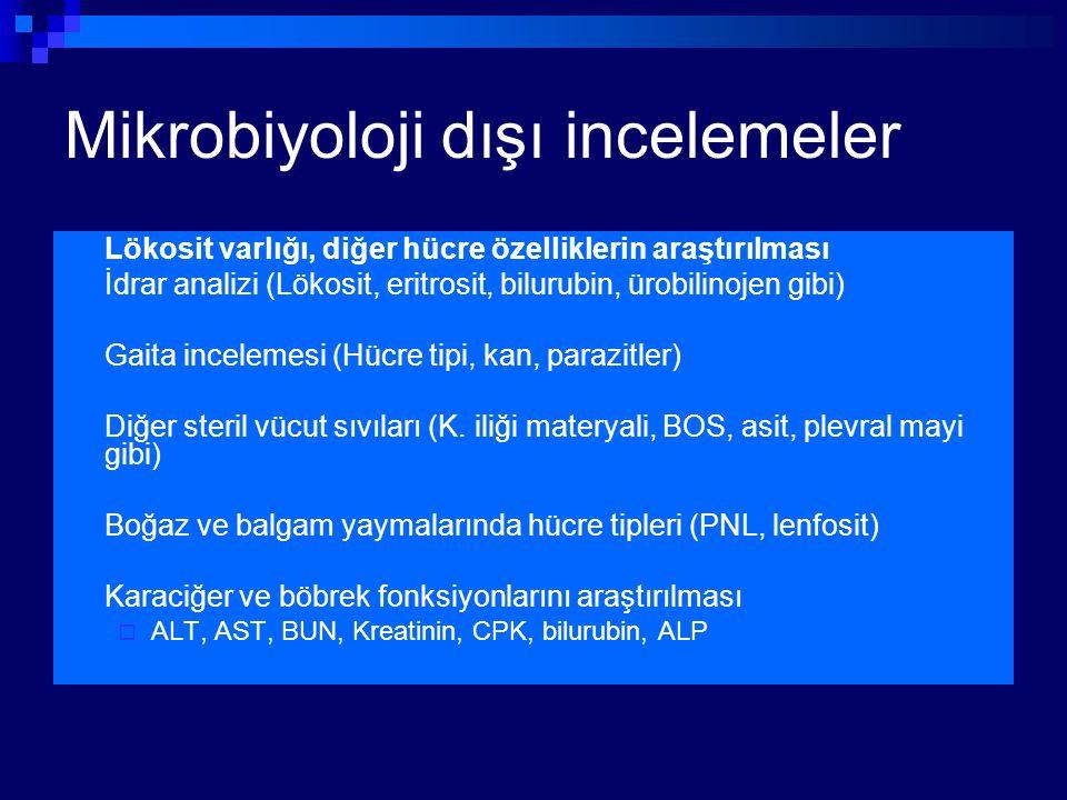 Mikrobiyoloji dışı incelemeler Lökosit varlığı, diğer hücre özelliklerin araştırılması İdrar analizi (Lökosit, eritrosit, bilurubin, ürobilinojen gibi