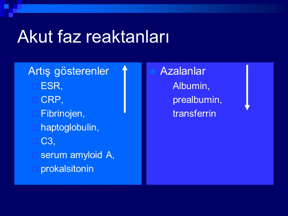Akut faz reaktanları Artış gösterenler  ESR,  CRP,  Fibrinojen,  haptoglobulin,  C3,  serum amyloid A,  prokalsitonin Azalanlar  Albumin,  pr