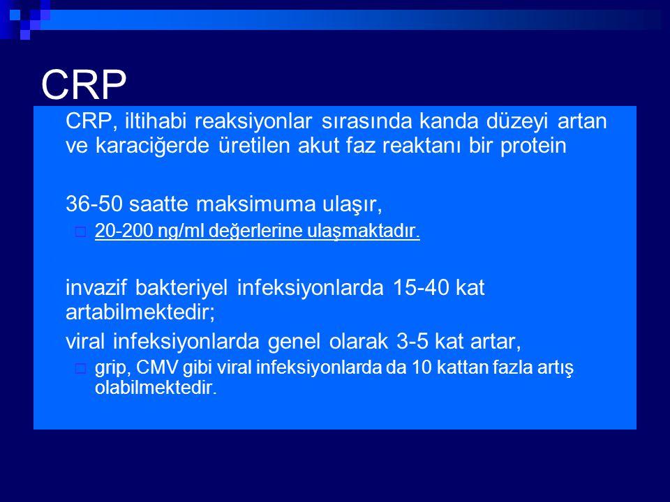 CRP CRP, iltihabi reaksiyonlar sırasında kanda düzeyi artan ve karaciğerde üretilen akut faz reaktanı bir protein 36-50 saatte maksimuma ulaşır,  20-