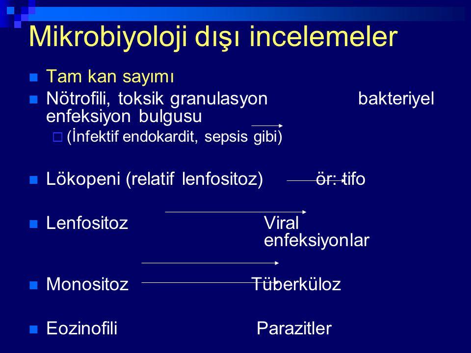 Mikrobiyoloji dışı incelemeler Tam kan sayımı Nötrofili, toksik granulasyon bakteriyel enfeksiyon bulgusu  (İnfektif endokardit, sepsis gibi) Lökopen