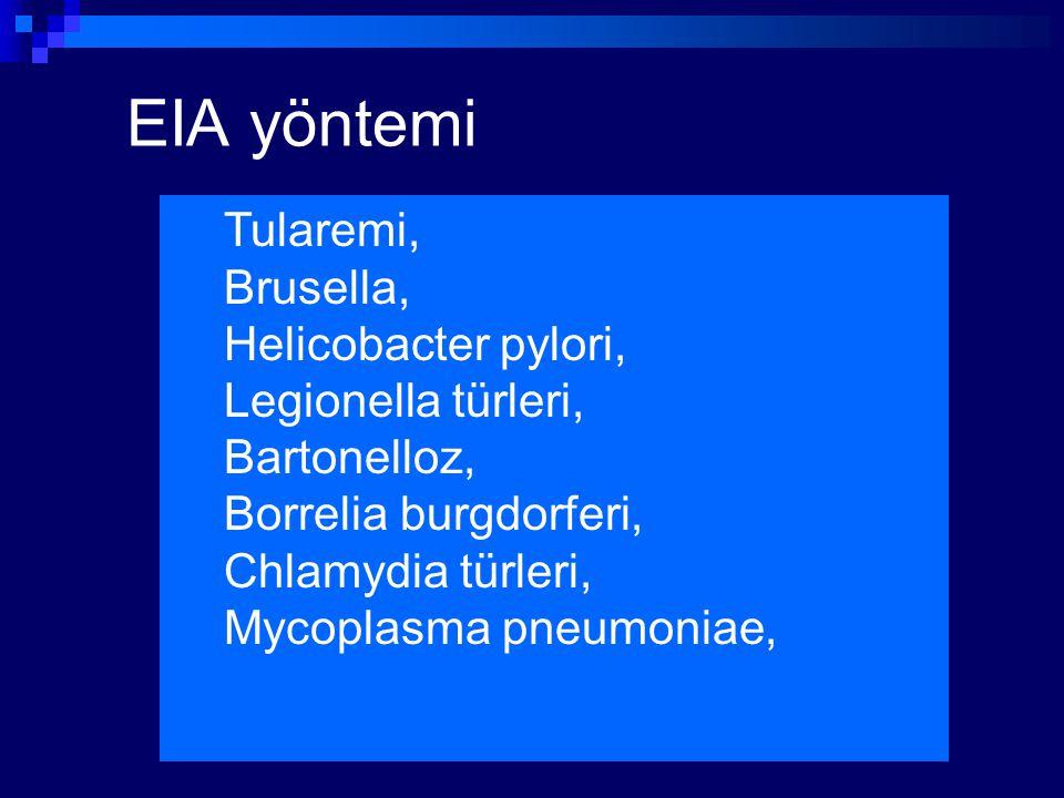 EIA yöntemi Tularemi, Brusella, Helicobacter pylori, Legionella türleri, Bartonelloz, Borrelia burgdorferi, Chlamydia türleri, Mycoplasma pneumoniae,