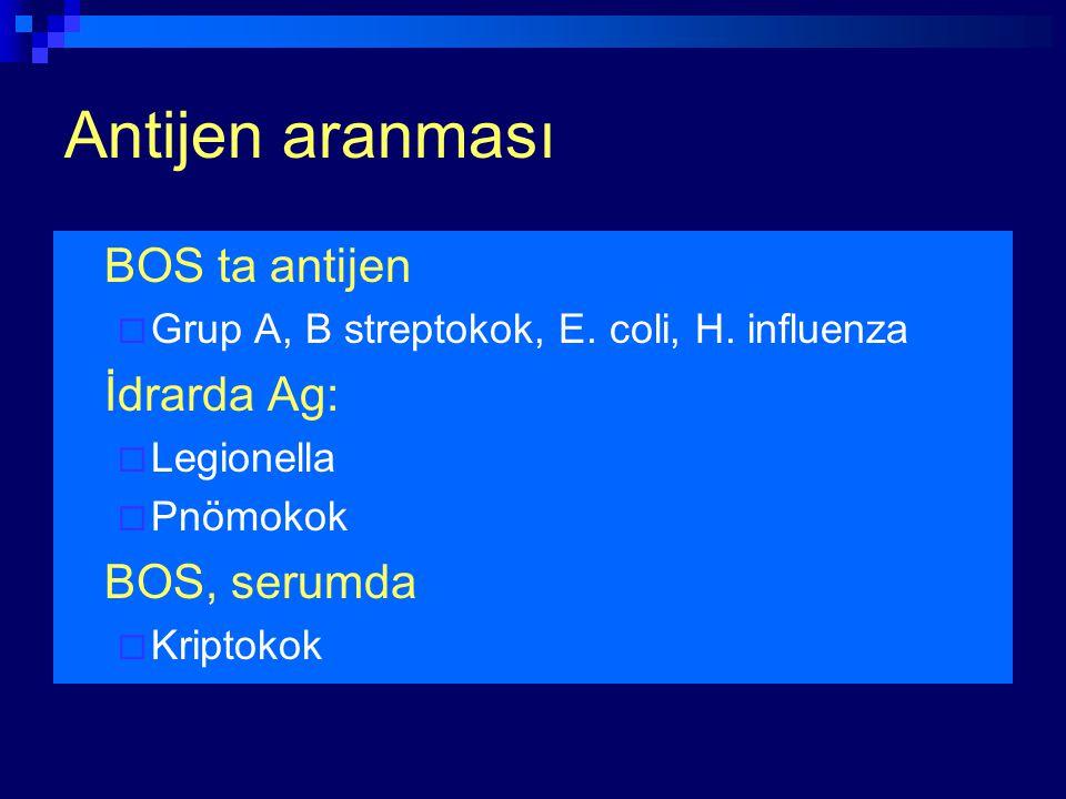 Antijen aranması BOS ta antijen  Grup A, B streptokok, E. coli, H. influenza İdrarda Ag:  Legionella  Pnömokok BOS, serumda  Kriptokok
