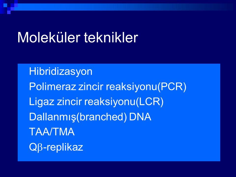 Moleküler teknikler Hibridizasyon Polimeraz zincir reaksiyonu(PCR) Ligaz zincir reaksiyonu(LCR) Dallanmış(branched) DNA TAA/TMA Q  -replikaz