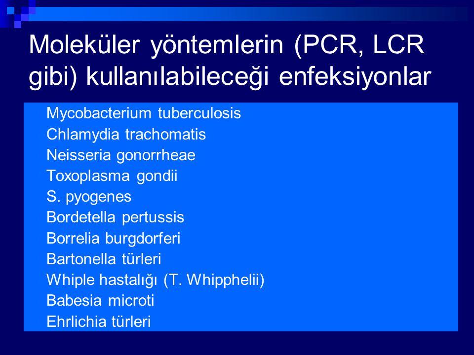 Moleküler yöntemlerin (PCR, LCR gibi) kullanılabileceği enfeksiyonlar Mycobacterium tuberculosis Chlamydia trachomatis Neisseria gonorrheae Toxoplasma