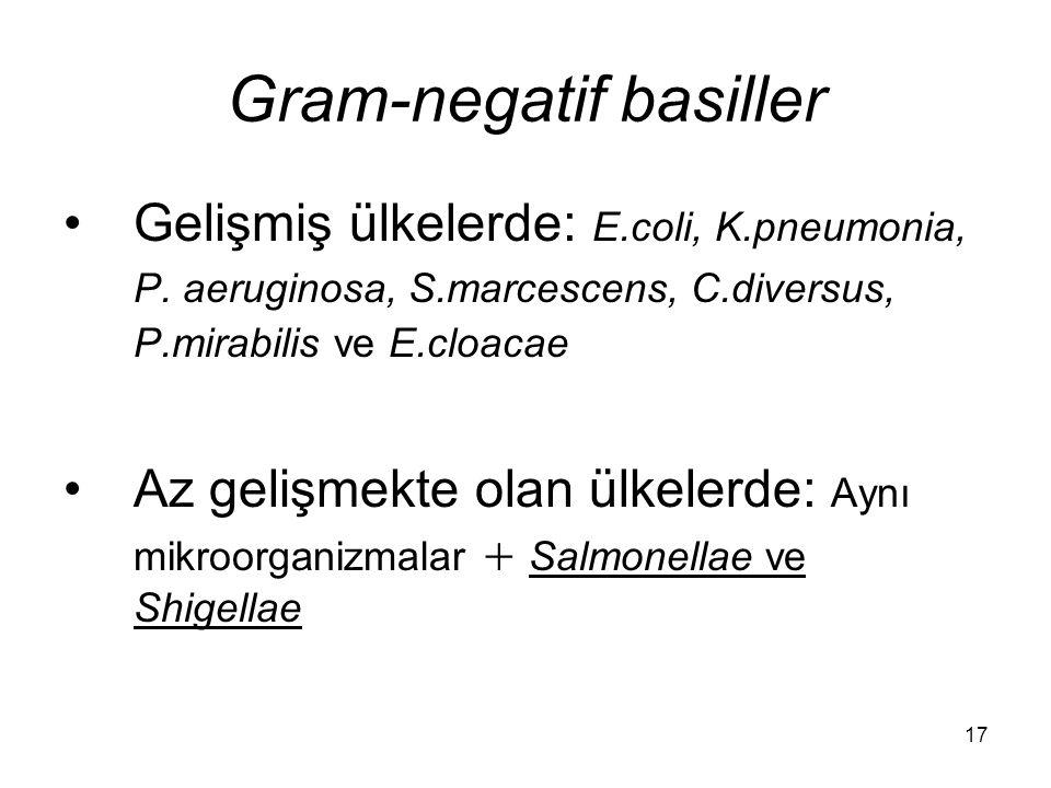 17 Gram-negatif basiller Gelişmiş ülkelerde: E.coli, K.pneumonia, P. aeruginosa, S.marcescens, C.diversus, P.mirabilis ve E.cloacae Az gelişmekte olan
