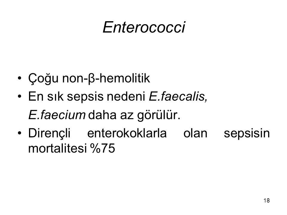 18 Enterococci Çoğu non-β-hemolitik En sık sepsis nedeni E.faecalis, E.faecium daha az görülür. Dirençli enterokoklarla olan sepsisin mortalitesi %75