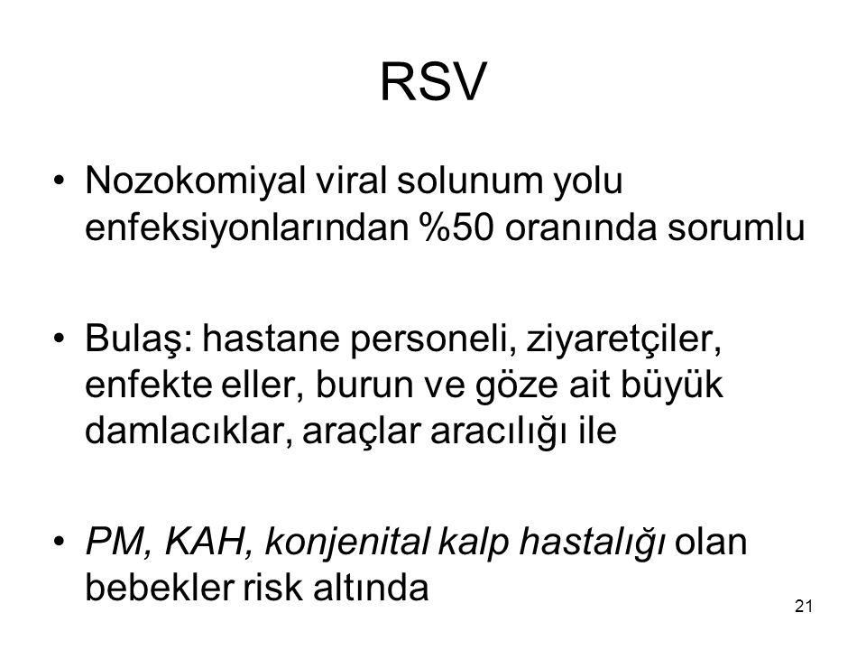 21 RSV Nozokomiyal viral solunum yolu enfeksiyonlarından %50 oranında sorumlu Bulaş: hastane personeli, ziyaretçiler, enfekte eller, burun ve göze ait