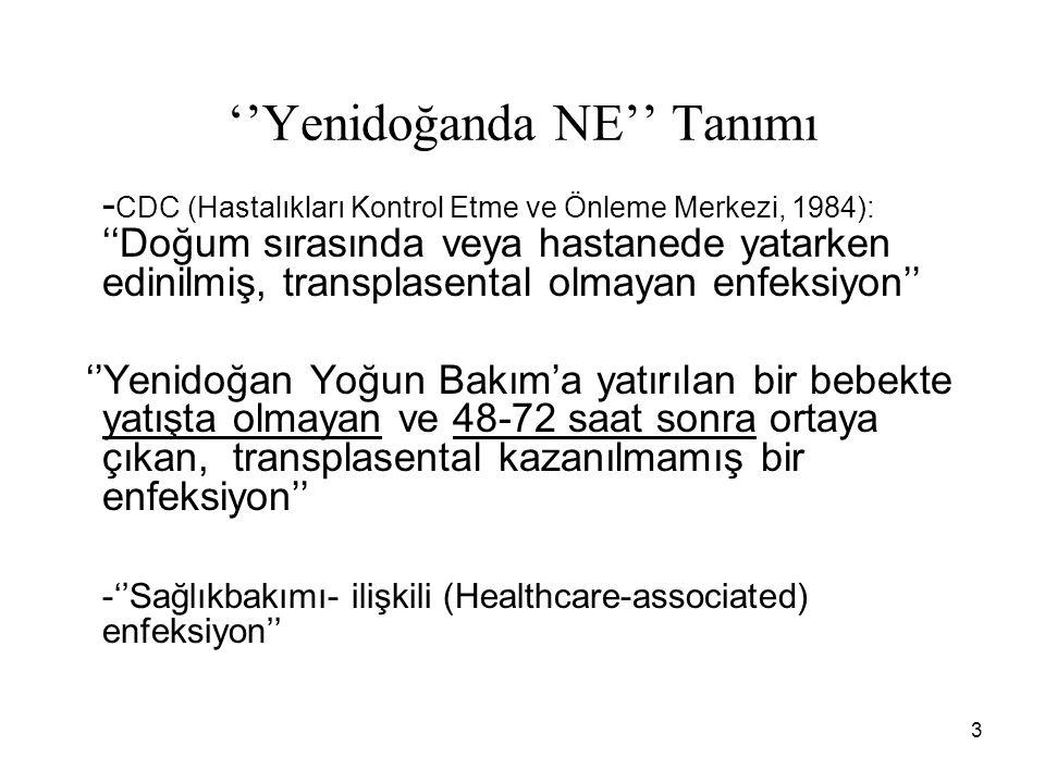 3 ''Yenidoğanda NE'' Tanımı - CDC (Hastalıkları Kontrol Etme ve Önleme Merkezi, 1984): ''Doğum sırasında veya hastanede yatarken edinilmiş, transplase