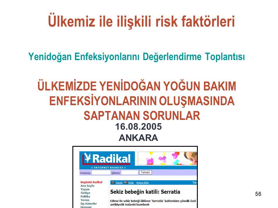 56 Yenidoğan Enfeksiyonlarını Değerlendirme Toplantısı ÜLKEMİZDE YENİDOĞAN YOĞUN BAKIM ENFEKSİYONLARININ OLUŞMASINDA SAPTANAN SORUNLAR 16.08.2005 ANKA