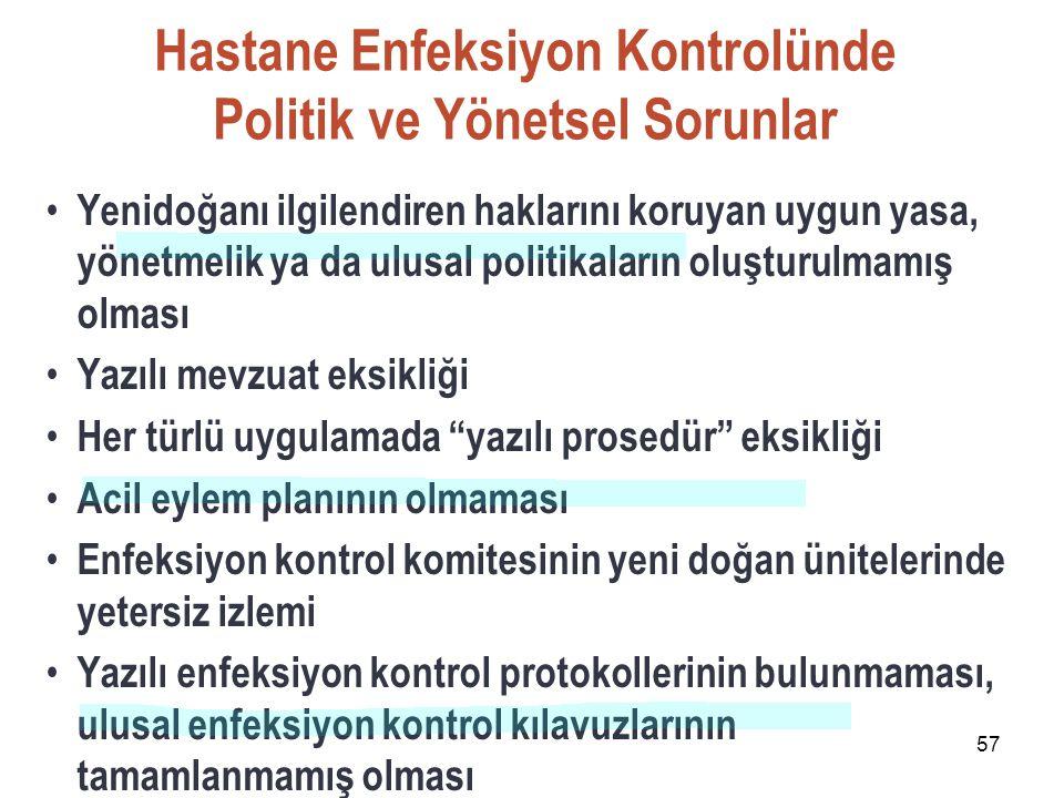 57 Hastane Enfeksiyon Kontrolünde Politik ve Yönetsel Sorunlar Yenidoğanı ilgilendiren haklarını koruyan uygun yasa, yönetmelik ya da ulusal politikal