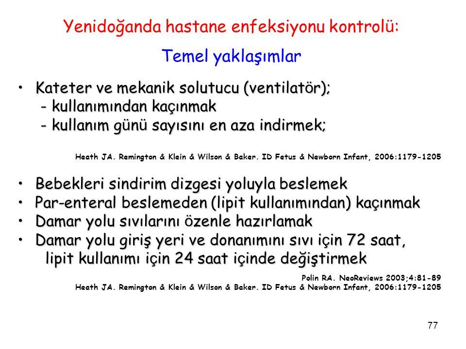 77 Yenidoğanda hastane enfeksiyonu kontrol ü : Temel yaklaşımlar Kateter ve mekanik solutucu (ventilat ö r);Kateter ve mekanik solutucu (ventilat ö r)