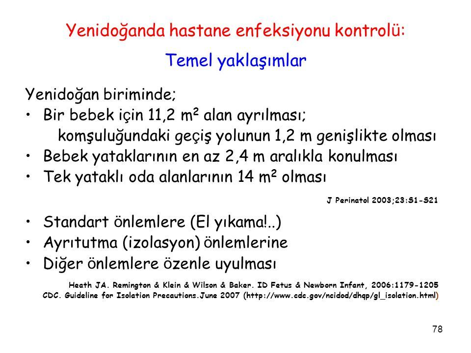 78 Yenidoğanda hastane enfeksiyonu kontrol ü : Temel yaklaşımlar Yenidoğan biriminde; Bir bebek i ç in 11,2 m 2 alan ayrılması; komşuluğundaki ge ç iş