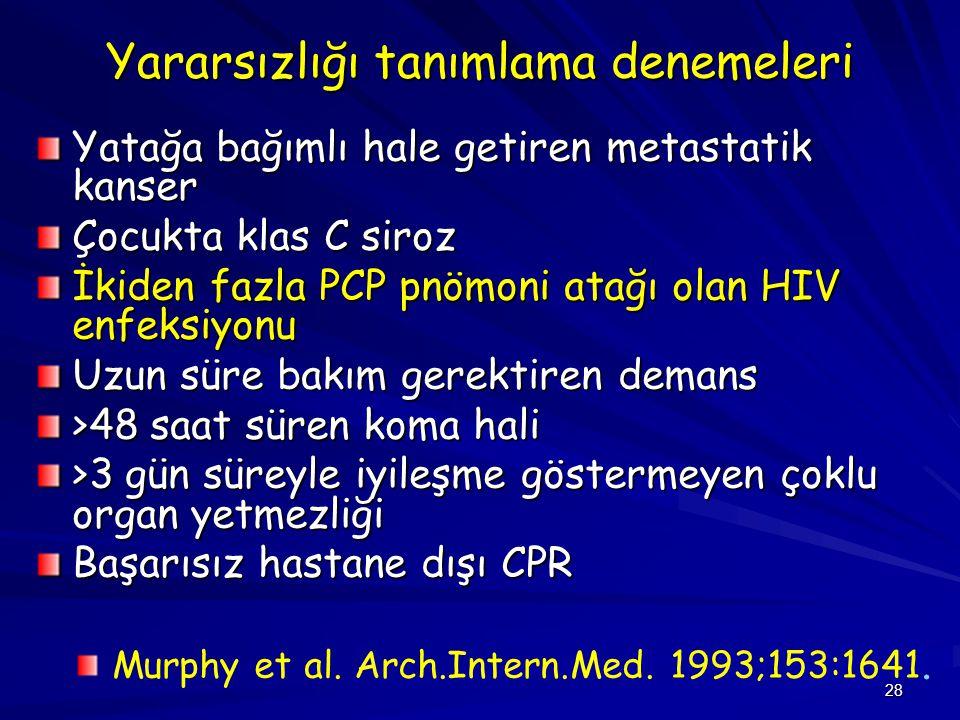 28 Yararsızlığı tanımlama denemeleri Yatağa bağımlı hale getiren metastatik kanser Çocukta klas C siroz İkiden fazla PCP pnömoni atağı olan HIV enfeksiyonu Uzun süre bakım gerektiren demans >48 saat süren koma hali >3 gün süreyle iyileşme göstermeyen çoklu organ yetmezliği Başarısız hastane dışı CPR Murphy et al.