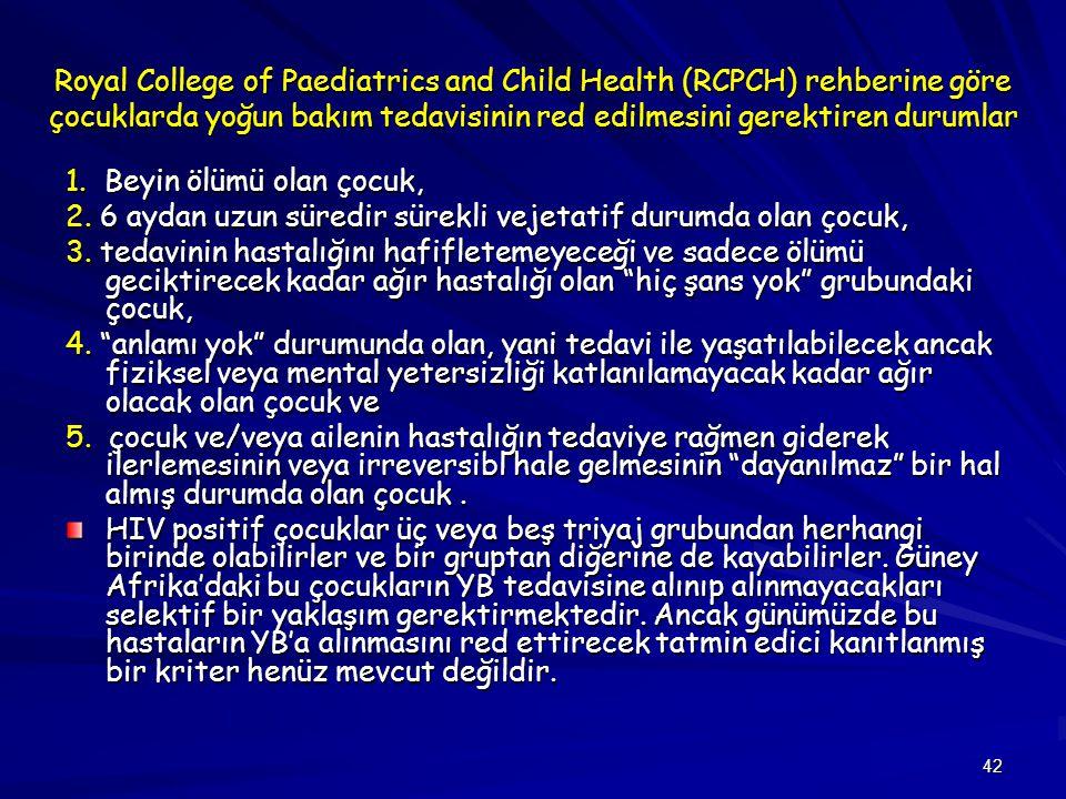 42 Royal College of Paediatrics and Child Health (RCPCH) rehberine göre çocuklarda yoğun bakım tedavisinin red edilmesini gerektiren durumlar 1.