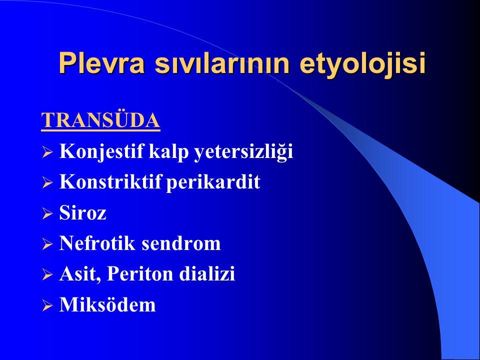 Plevra sıvılarının etyolojisi TRANSÜDA  Konjestif kalp yetersizliği  Konstriktif perikardit  Siroz  Nefrotik sendrom  Asit, Periton dializi  Miksödem