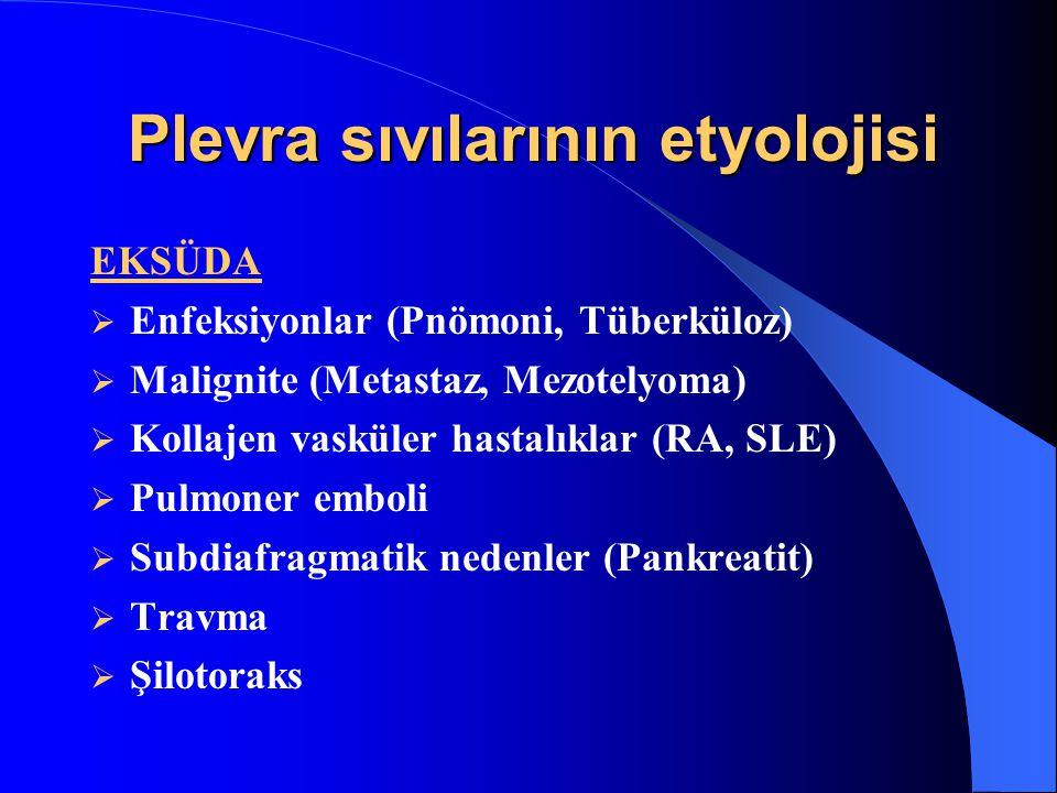 Plevra sıvılarının etyolojisi EKSÜDA  Enfeksiyonlar (Pnömoni, Tüberküloz)  Malignite (Metastaz, Mezotelyoma)  Kollajen vasküler hastalıklar (RA, SLE)  Pulmoner emboli  Subdiafragmatik nedenler (Pankreatit)  Travma  Şilotoraks