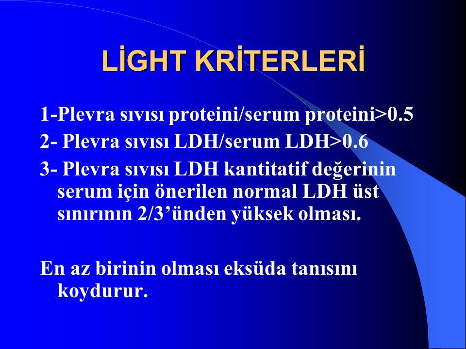 LİGHT KRİTERLERİ 1-Plevra sıvısı proteini/serum proteini>0.5 2- Plevra sıvısı LDH/serum LDH>0.6 3- Plevra sıvısı LDH kantitatif değerinin serum için önerilen normal LDH üst sınırının 2/3'ünden yüksek olması.