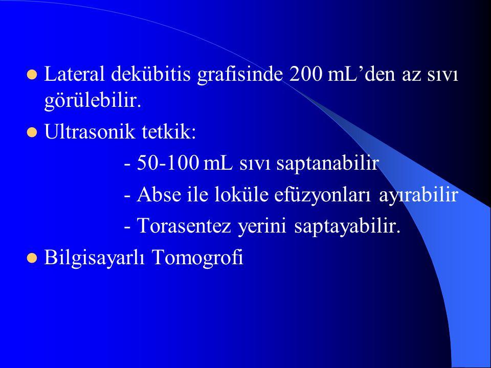 Lateral dekübitis grafisinde 200 mL'den az sıvı görülebilir. Ultrasonik tetkik: - 50-100 mL sıvı saptanabilir - Abse ile loküle efüzyonları ayırabilir