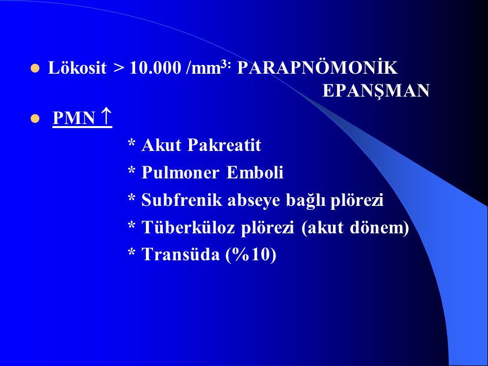 Lökosit > 10.000 /mm 3: PARAPNÖMONİK EPANŞMAN PMN  * Akut Pakreatit * Pulmoner Emboli * Subfrenik abseye bağlı plörezi * Tüberküloz plörezi (akut dönem) * Transüda (%10)