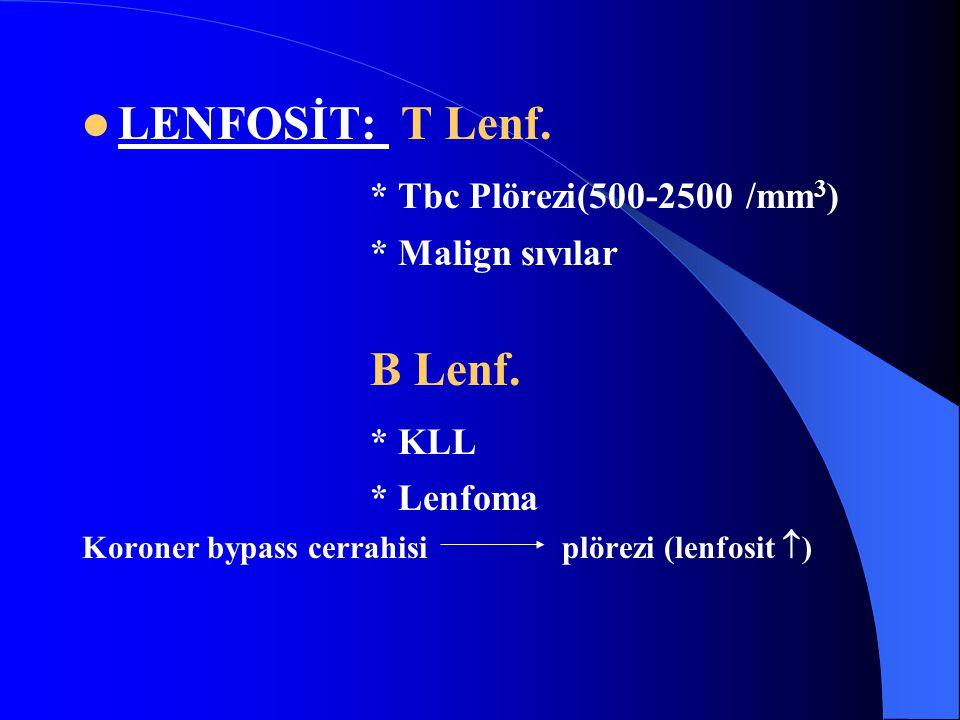 LENFOSİT: T Lenf.* Tbc Plörezi(500-2500 /mm 3 ) * Malign sıvılar B Lenf.