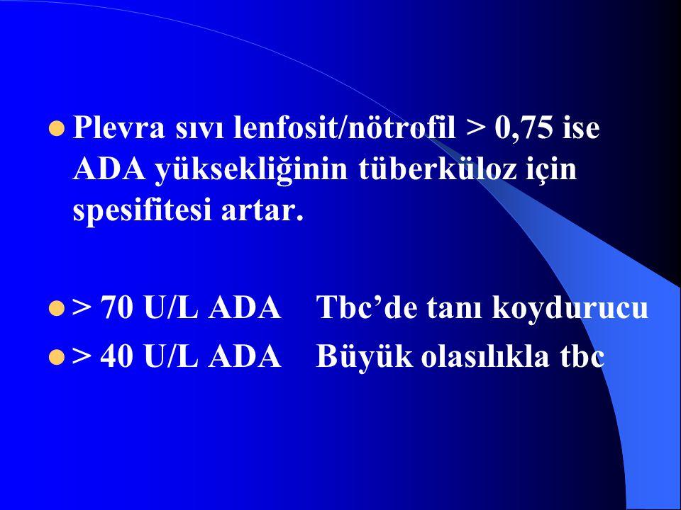 Plevra sıvı lenfosit/nötrofil > 0,75 ise ADA yüksekliğinin tüberküloz için spesifitesi artar. > 70 U/L ADA Tbc'de tanı koydurucu > 40 U/L ADA Büyük ol