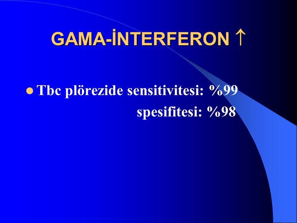GAMA-İNTERFERON  Tbc plörezide sensitivitesi: %99 spesifitesi: %98