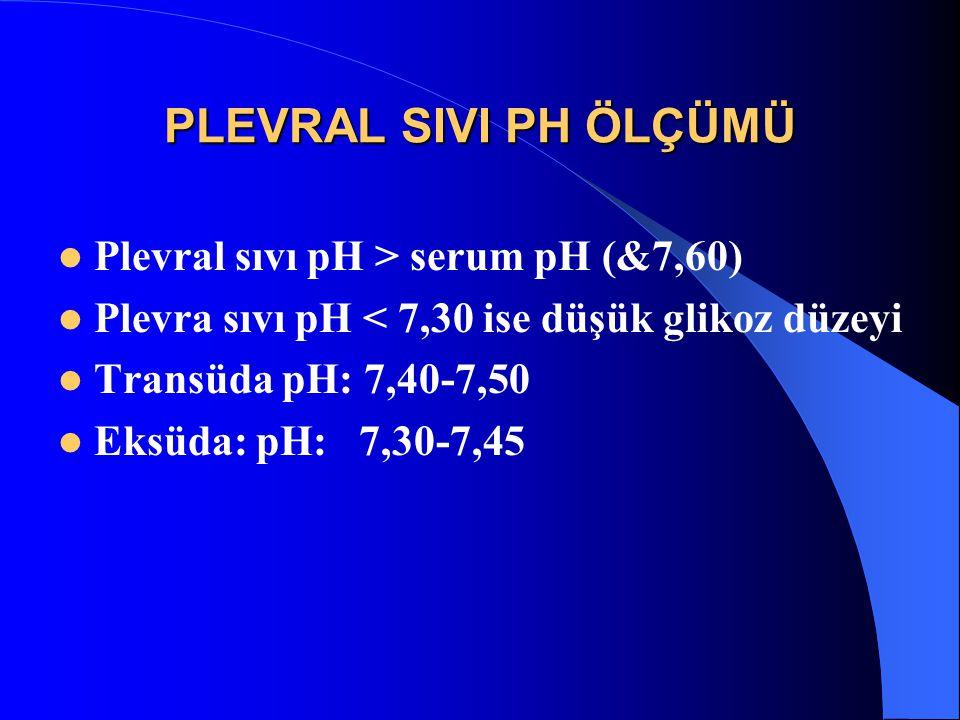 PLEVRAL SIVI PH ÖLÇÜMÜ Plevral sıvı pH > serum pH (&7,60) Plevra sıvı pH < 7,30 ise düşük glikoz düzeyi Transüda pH: 7,40-7,50 Eksüda: pH: 7,30-7,45
