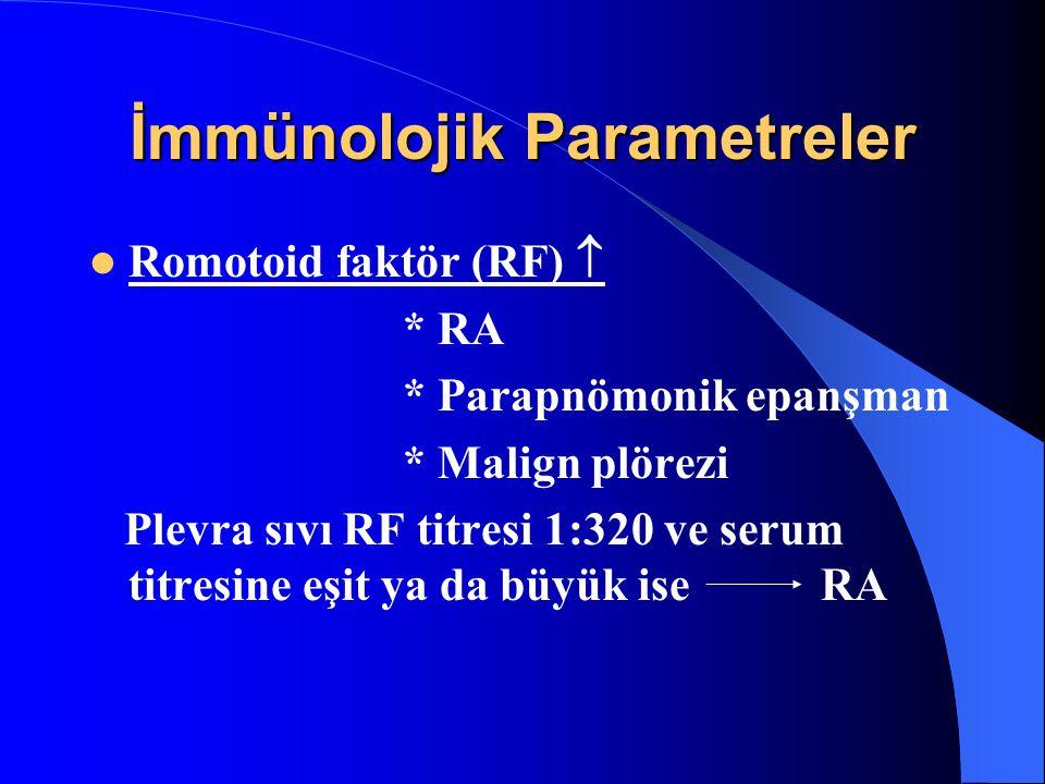 İmmünolojik Parametreler Romotoid faktör (RF)  * RA * Parapnömonik epanşman * Malign plörezi Plevra sıvı RF titresi 1:320 ve serum titresine eşit ya da büyük ise RA