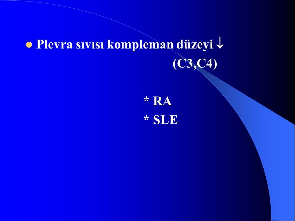 Plevra sıvısı kompleman düzeyi  (C3,C4) * RA * SLE