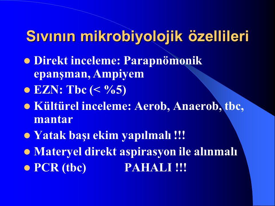Sıvının mikrobiyolojik özellileri Direkt inceleme: Parapnömonik epanşman, Ampiyem EZN: Tbc (< %5) Kültürel inceleme: Aerob, Anaerob, tbc, mantar Yatak başı ekim yapılmalı !!.