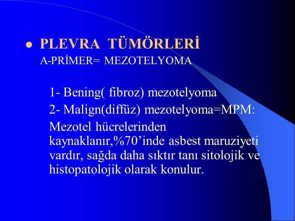 PLEVRA TÜMÖRLERİ A-PRİMER= MEZOTELYOMA 1- Bening( fibroz) mezotelyoma 2- Malign(diffüz) mezotelyoma=MPM: Mezotel hücrelerinden kaynaklanır,%70'inde asbest maruziyeti vardır, sağda daha sıktır tanı sitolojik ve histopatolojik olarak konulur.